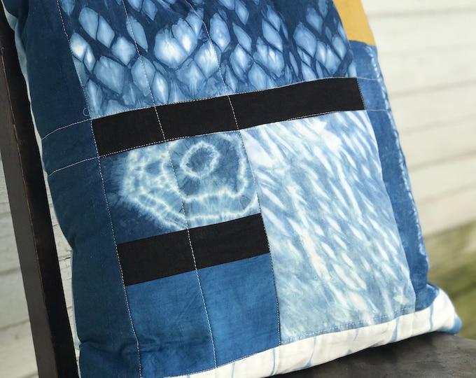 Hand Dyed Shibori Throw Pillow 18 x 18 - Indigo White Black Yellow