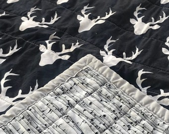 Deer Silhouette and Birch Quilt - Made to Order