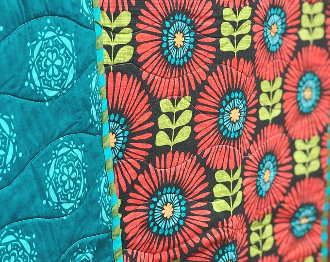 Handmade Modern Baby or Lap Quilt - Mid Century Mod Coral and Teal Flowers