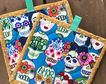 Handmade Quilted Pot Holders - Colorful Frida Kahlo Day of The Dead