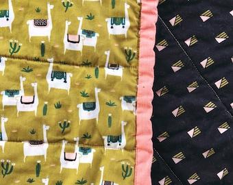 Modern baby or lap quilt - Llamas!!