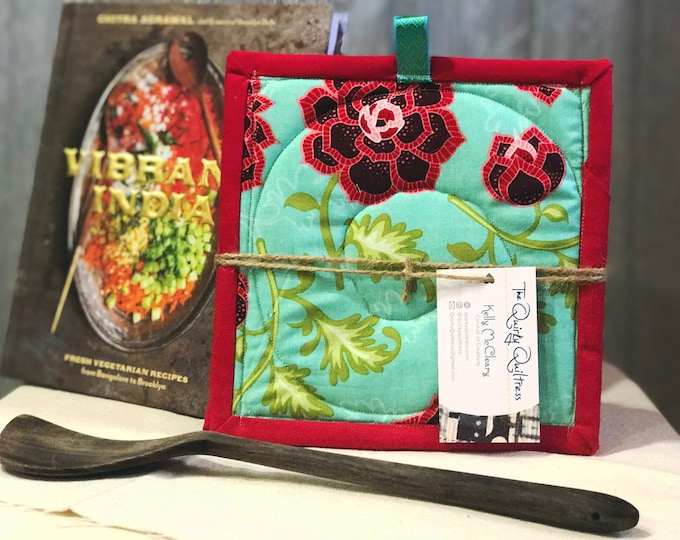Teal Rose Quilted Pot Holders