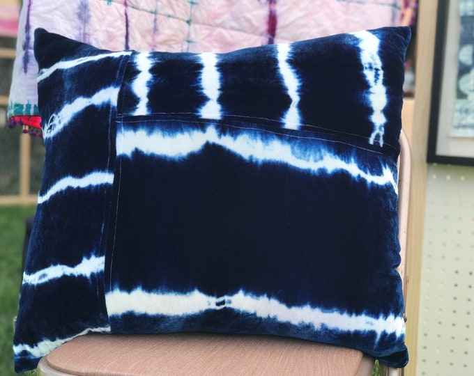 "Shibori Throw Pillow - Hand Dyed Indigo on Silk Velvet - 22"" x 22"""