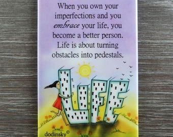 Cute quote magnet great for home decor or perfect gift idea for inspirational gift. Size is 2 x 3. Embrace Your Imperfections.