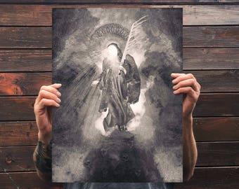 Prophet of Ruin, unframed print, print on matte textured aged quality 300gsm paper, gothic art, unframed, art of tarot, the judge