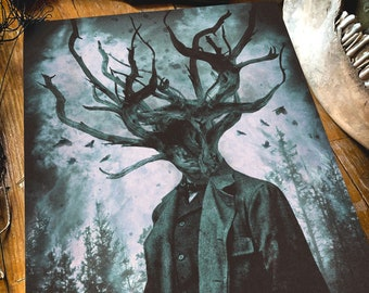 The Great Unconfortable Truth, Fine art matte paper on textured aged quality 300gsm paper, mysterious man, lovecraft, horror, design