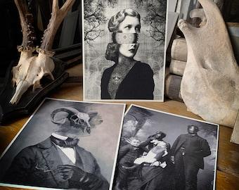 Set of 3 unframed prints, fine art printed on matte textured aged quality 300gsm paper, goth art, unframed, art of tarot, the judge
