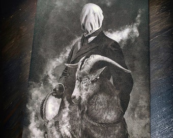 The Seed, fine art matte paper on textured aged quality 300gsm paper, mysterious man with goat, lovecraft, horror illustration, design