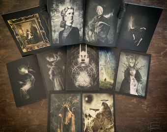 Illustrated book by Django Nokes, a collection of dark surreal, gothic and occult images, 42 pages, limited collector's item