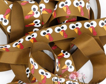"7/8"" Gobble Turkey Glitter Grosgrain Ribbon"