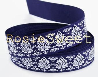 7/8 Navy Blue/White Glitter Formal Damask Grosgrain Ribbon