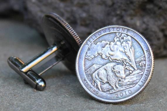 Sterling Silver Medium Size Round Top North Dakota State Bison Cufflinks