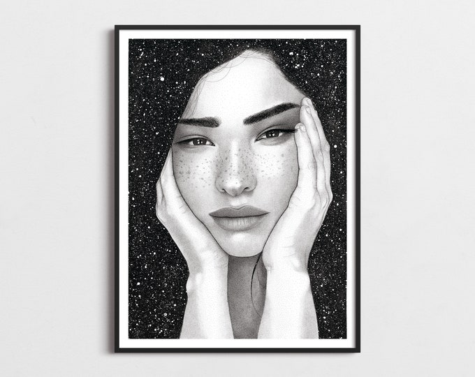 Featured listing image: Lucia Portrait Art, Art Print, Stipple, Gift for Women, Illustration, Starry Night, Boho, Handmade