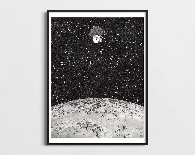 Featured listing image: Moon Modern Art Print, Gift for Her, Poster, Stars Galaxy Illustration, Space Art Wall Decor, Large Wall Art