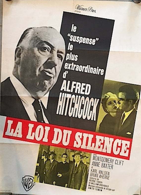 Vintage Film Poster I Confess French 1960s Alfred Hitchcock