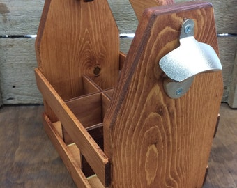 Wooden Beer Carrier-Beer Caddy-bottle opener