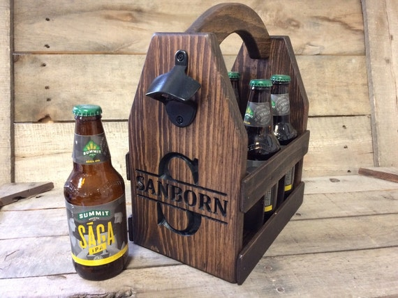 Personalized Wood Beer Carrier Beer Caddy Bottle Opener Groomsmen Gift Gifts For Him Wedding Party Gift Ideas
