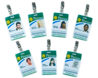Parks and Rec Style ID Card w/ Clip Choice of Charactor: Ron Swanson, Leslie Knope, Donna Meagle, Ann Perkins, April, Tom, Andy, Chris