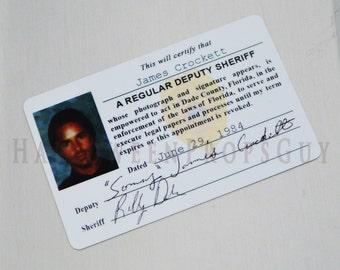 MIAMI VICE Sonny James Crockett Pvc Id Card Badge - Made In USA