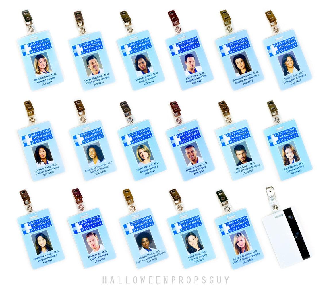Greys Anatomy grau Sloan Charactor ID Karte Replik mit Clip