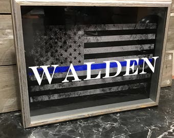 Personalized Thin Blue Line Flag Shadow Box - Law Enforcement Gift - Police Gift - Father's Day - Birthday Gift