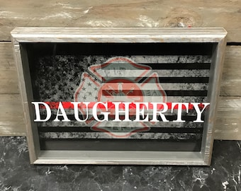 Personalized Thin Red Line Shadow Box with Flag and Maltese Cross- Thin Red Line Flag Shadow Box - Firefighter Gift - First Responder