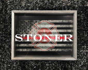 Personalized Thin Red Line Flag Shadow Box - Firefighter Gift - First Responder - Father's Day - Birthday Gift