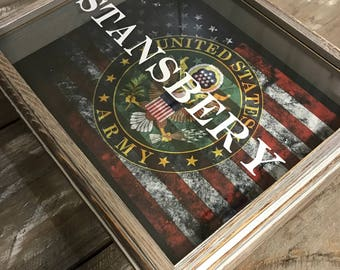 Personalized Army Shadow Box With US Flag - Armed Forces Gift - Military  - Father's Day - Birthday Gift - Christmas Gift