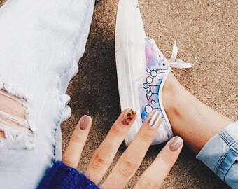 6876ba4197f3 Dripping Paint Galaxy Planet Vans- Custom Hand painted Canvas shoes- unique  artistic gifts