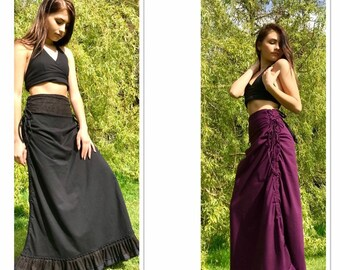 87c64c4d4 Black Long Maxi Skirt, Long Boho Frilled Skirt, Steampunk Bustle Skirt,  Hippie Clothing, Festival Fashion, Fairy Style Skirt, Gypsy Skirt.