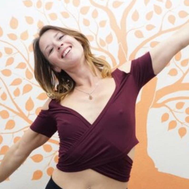 67915d8c5f6a8 Plum Cold Shoulder Wrap Top. Perfect as Day Wear Dance Yoga