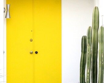 Yellow Midcentury Cacti Door of Palm Springs