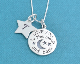 "Little girl's I love you to the moon and back necklace in sterling silver on a 14"" sterling silver box chain and hand stamped star."