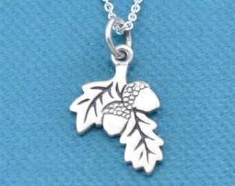 "Girl's, Teen's, Women's Acorn necklace in sterling silver on a 16"" sterling silver rolo chain.  Acorn necklace.  Acorn Gifts.  Fall jewelry."