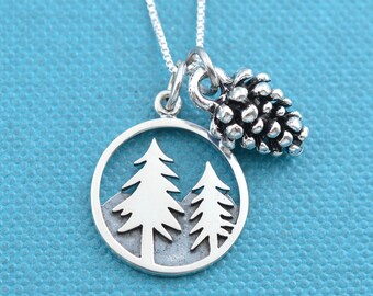 """Pine tree and pine cone charm pendants on sterling silver 18"""" Box Chain.  Pine tree necklace.   Pine cone necklace."""