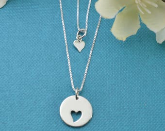 Mother Daughter Necklace Set.  Cut out heart necklace set.  Sterling silver necklace sets.