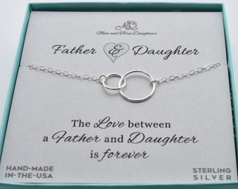 Two Intertwined Circles Charm Pendant In Sterling Silver On An 18 Cable Chain Father Gift To Daughter For