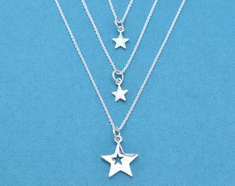 Mother and Two Daughters Star Necklace Set.  Mother Daughter Jewelry. Mother Daughter Necklaces.  Star necklace.  Star charm.