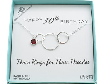 30th Birthday For Her Pendant In Sterling Silver With Birthstone On A Cable Chain Gift 30 Years Old Thirty