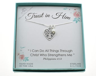 17c06c9e34e Girl's, Woman's sterling silver cross charm pendant on a sterling silver  box chain accented with freshwater pearl. Cross gift. Trust God.