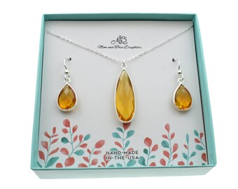 SALE Wire Wrapped Beautiful Citrine Gemstone Necklace and Earring Set