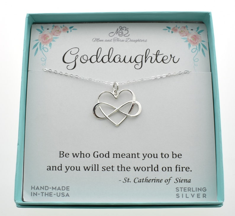 Be who God meant you to be. Gift for Goddaughter Infinity heart charm pendant in sterling silver on an 18 sterling silver cable chain