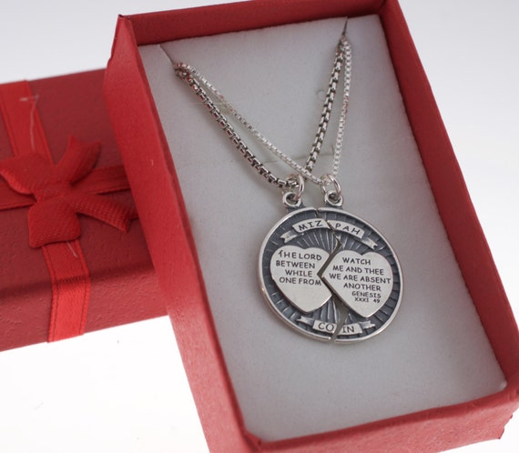 dc6155655a6 Mizpah Coin Charm Pendants for Him and Her in sterling silver.
