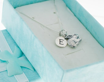 Little girl's rabbit necklace in sterling silver personalized with letter charm.  Little girls jewelry. Rabbit necklace.  Bunny jewelry.