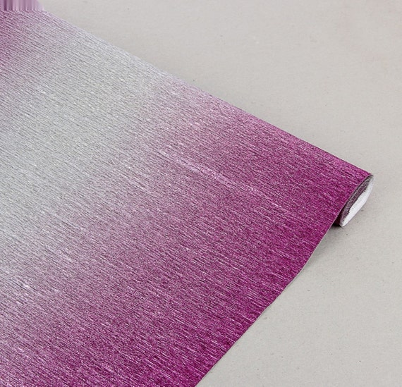 Nuance Metalised Crepe Paper Roll Party Decoration Italy 2.5X0.5m lILAC //SILVER