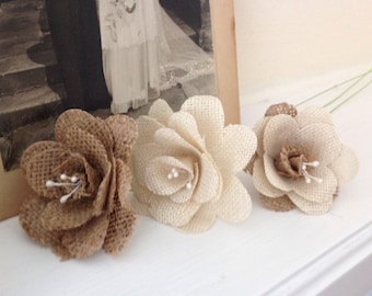Hessian / Burlap Flowers Natural & Ivory with Pearl Stamen x 7