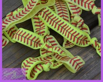 Softball Hair Ties - Softball Gifts - Softball Player Party Pack - Softball Coach, Softball Mom, Softball Team