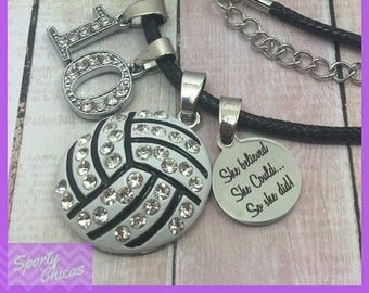 Personalized Volleyball Team Gifts - End of Season Gift - Graduation - Senior Night - Volleyball Necklace, She Believed She Could So She Did