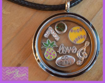 Softball Gifts, Personalized Softball Necklace, Girls Jewelry Large Floating Locket - Personalized Jewelry - Softball, Personalized Necklace