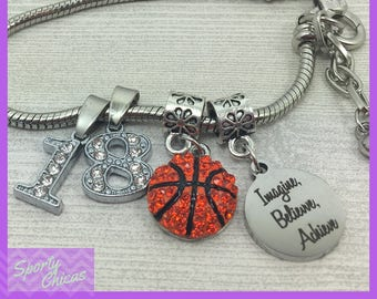 Personalized Basketball Gift - Basketball Jewelry - Basketball Bracelet With Numbers - Imagine, Believe, Achieve - Basketball Coaches Gift